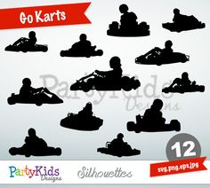 Go Karts Silhouettes, SVG Go Karts, Instant Download, svg, png, jpg and eps file types included, PS-317.