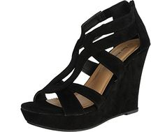 Top Moda Womens Lindy-66 Open Toe Platform Wedge Sandals Black. You are going to remember to stand above the gang in these fabulous Black wedges! Featuring open toe front, strappy construction at vamp, sewing main points, basket weave textured platform, and wedge heel