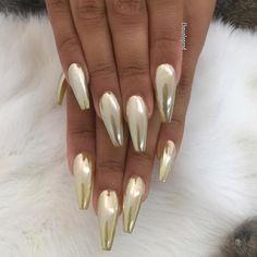 Golden Chrome Nails