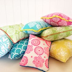 bright boho pillows