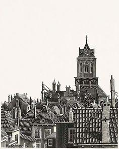 Roofs of Delft, woodcut by M. Mc Escher Art, Escher Drawings, Scratch Art, Linoprint, Famous Art, Dutch Artists, Graphic Design Projects, Japanese Prints, Landscape Illustration