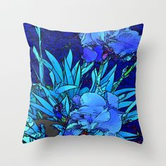 Iris Throw Pillow by lillianhibiscus - $20.00