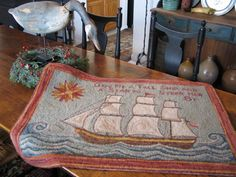 My Red Cape: Nautical Hooked Rugs - fabulous work by Edyth O'Neill. RIP to her dear husband, Jack. Hook Punch, Rug Hooking Patterns, Hand Hooked Rugs, Penny Rugs, Wool Applique, Linocut Prints, Rug Making, Floor Rugs, Textile Art
