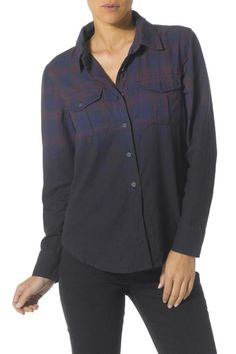 Super soft 100% cottton dobby flannel shirt. Classic plaid fades into a dark ombre at the bottom. With unexpected details like a half-placket button front and pleated pockets it's a feminine twist on a classic.  Ombre Plaid-Flannel Shirt by Silver Jeans Co.. Clothing - Tops - Long Sleeve Clothing - Tops - Button Down North Shore Boston Massachusetts
