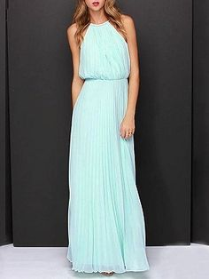 Shop Mint Green Pink Cut Away Pleated Chiffon Maxi Dress from choies.com .Free shipping Worldwide.$34.9