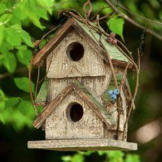 Twig Motif Wooden Birdhouse