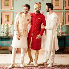 Anita Dongare recently launched Jaipur love collection of heavily worked pink brocade parrot green and yellow unicolor pieces. Wedding Outfits For Groom, Groomsmen Outfits, Indian Wedding Outfits, Mens Indian Wear, Anita Dongre, Indian Groom, Bridesmaid Dresses, Wedding Dresses, Indian Designer Wear