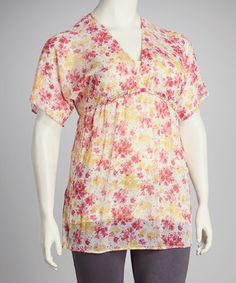Take a look at this Yummy Pink & Yellow Floral Ruffle Plus-Size Bell Sleeve Top by Yummy on #zulily today!