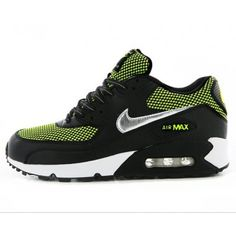 Black Nike Air Max 90 Womens Shoes Hot Green Special