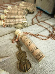 Fiddle Music Pendant Violin Necklace Tune in a Bottle King George the Fourth Strathspey. $18.00, via Etsy.