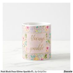 Pink Blush Faux Glitter Sparkle Floral Watercolor Coffee Mug