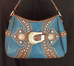 $47.79 Montana West Concealed Carry Hobo Handbag w/ Buckle & Studs in Denim Blue #MontanaWest #Purse