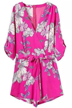 Chic 3/4 Sleeves Plunging Neck Floral Print Romper For Women