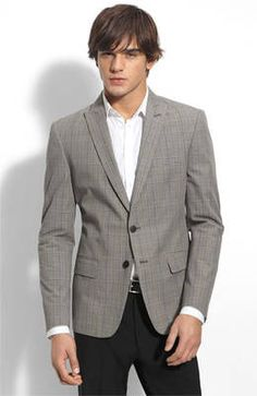 Suggestion 1 - grey blazer w/ open collar shirt (white pops the best on stage)
