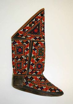 Boots Date: 1900–1971 Culture: Afghan Medium: leather, silk