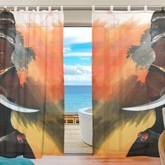2 PCS INGBAGS Bedroom Decor Living Room Decorations African Art Women Pattern Print Tulle Polyester Door Window Gauze / Sheer Curtain Drape Two Panels Set 55x78 inch ,Set of 2 -- Check out this great product. (This is an affiliate link and I receive a commission for the sales)
