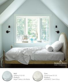 Benjamin Moore's Iceberg 2122-50 paint color in a bedroom is beautifully enhanced by morning light and provides a clean, crisp start to any day.