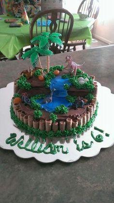Excelente idea de torta de dinosuario con paisaje prehistorico #dinosaurios #ideas #fiestas #niños #pasteles #tortas