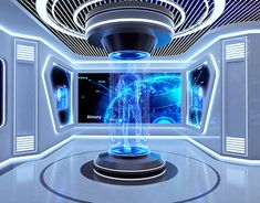 Spaceship Interior, Futuristic Interior, Futuristic City, Futuristic Technology, Futuristic Design, Futuristic Architecture, Futuristic Houses, Tv Set Design, Futuristisches Design