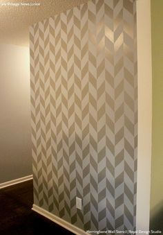 These Herringbone Pattern Wall Stencils make it easy to stencil a fun, modern graphic herringbone design on your walls. This design is also available in a small Decor, Stencils Wall, Wall Decor, Bedroom Wall, Gray Painted Walls, Herringbone Wall, Home Decor, Wall Design, Stencil Furniture