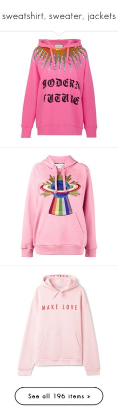 """sweatshirt, sweater, jackets"" by pxxnk-23k ❤ liked on Polyvore featuring tops, hoodies, sweatshirts, cotton sweatshirts, sequin sweatshirts, sequin embellished top, pink top, pink sequin sweatshirt, gucci and long sleeve hooded sweatshirt"