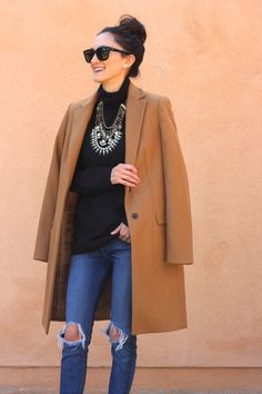 Camel Coat + Statement Necklace