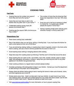 The American Red Cross: Tips to Avoid Kitchen Fires {click link for FULL details} Avoid Kitchen Fires - Use Red Cross Tips Prevent Home Fires Fast Facts: Cooking fires are the number one cause of home fires and home fire injuries.**  Home fires are more likely to start in the kitchen than any other room in your home.***  Unattended cooking causes nearly 90 percent of all kitchen fires.**