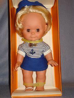 """Vintage 1960's Spielzeug Rauenstein 'Hugo' Sailor Doll 12"""" 7.5+3"""