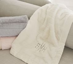 Monique Lhuillier Channel Faux Fur Baby Blankets | Pottery Barn Kids