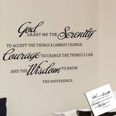 God Grant Me the Serenity to Accept the Things I Cannot Change the Courage to Change the Things I Can and the Wisdom to Know the Difference Serenity Prayer Christian Quotes and Sayings Wall Decal Removable Art Mural Wall Stickers Home Decor *** Details can be found by clicking on the image.