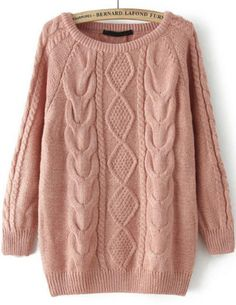 19.33 Pink Long Sleeve Cable Knit Loose Sweater