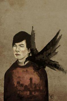 "prettyalarming: "" "" A boy named Crow. "" Inspired by Haruki Murakami's masterpiece, ""Kafka on the Shore"" "" Murakami Artist, Kafka On The Shore, Haruki Murakami, Fan Art, Boy Names, Crow, Illustration Art, Illustrations, Art Drawings"