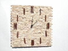 tile clock   Split Face Beige Tile Clock 11 3/4 x 12 1/4 inches (29.85 x ...   Clo ...