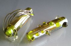 Pair of focal beads made by Jayne LeRette of BadgerBeads