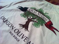 Oregon Olive Mill: 5 Spot Color Screen Print from Renderd Clothing. Available at Red Ridge Farms