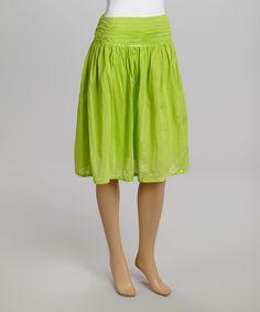 Look at this #zulilyfind! Passport Lime Wedge Gathered-Waist Skirt by Passport #zulilyfinds