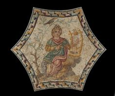 This third century A. Roman mosaic depicts Orpheus, a well known hero of Greek mythology. This mosaic provides a blend of both Greek and Roman culture, as well as providing early Christian art a possible way of depicting Jesus Christ. Ancient Rome, Ancient Greece, Ancient Art, Ancient History, Roman Artifacts, Museum Studies, Art Through The Ages, Pompeii And Herculaneum, Medieval