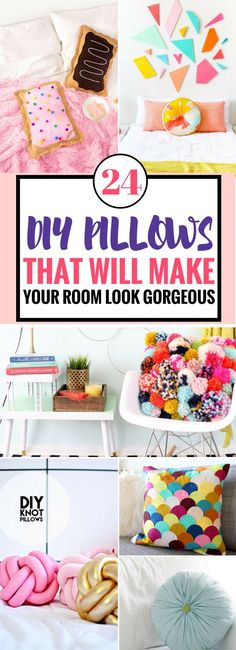 These DIY Pillows are the BEST thing ever! Easy tutorials to follow and they look GORGEOUS! I swear your room decor will look really great after you add a few of these fun diy pillows. Includes both pillows you can sew and no-sew pillow tutorials