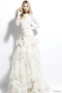 yolancris 2013 angola striped long sleeve wedding dress