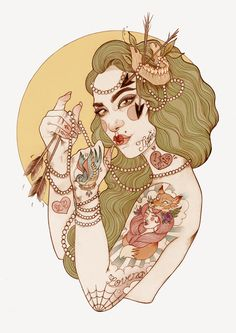 Tattooed Illustrations by Liz Clements Liz Clements, Lucky Tiger, Tiger Tiger, Tattoo Illustration, Illustration Artists, Muse Art, Portraits, Watercolor And Ink, Figure Drawing