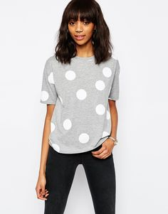 Image 1 of ASOS Oversized T-Shirt With Polka Dot