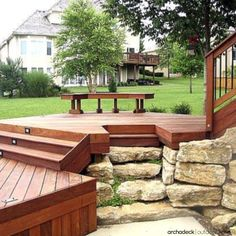 A multilevel deck design will overcome small dips or steep slopes and can twist and wind through most any landscape … a terrific way to make use of otherwise unusable space. | more at archadeckwestcounty.com