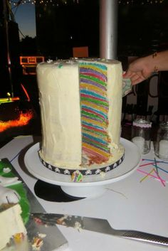 30 layer rainbow cake by Pearl & Groove @Pearl and Groove