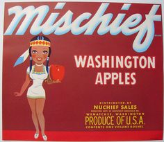 Apples from the home state. Label from the 40s.