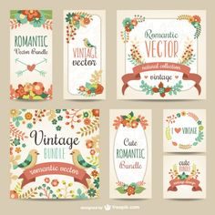 Paquete romántico de época Vector Gratis