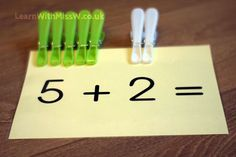 Active adding resource using pegs. Children choose a colour for each addend and arrange on the card. I encourage children to 'move to count' and transfer the pegs to the bottom of the c… Math Games, Learning Activities, Preschool Activities, Kids Learning, Number Activities, Maths Eyfs, Numeracy, Early Years Classroom, Math Boards
