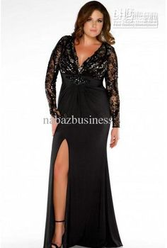 2016 Plus Size Special Occasion Dresses Black V Neck Long Sleeve Lace Satin Prom Evening Gown 76457 Plus Size Shirt Dress Plus Size Suits From Nabazbusiness, $109.1| Dhgate.Com