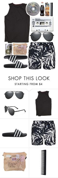 """""""The Waves Lap At My Toes And Your Smile Outshines The Sun"""" by tattooedgiraffe ❤ liked on Polyvore featuring adidas Originals, Topman, Veras, CASSETTE and GHD"""