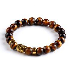 Tiger Eye Bead with Buddha Bracelet