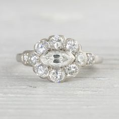 Image of .40 Carat Vintage Art Deco Marquise Cut Engagement Ring